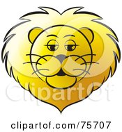 Royalty Free RF Clipart Illustration Of A Golden Lions Head With A Thick Mane by Lal Perera