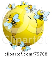 Royalty-Free (RF) Clipart Illustration of Busy Bees Flying Around A Gold Globe by Lal Perera