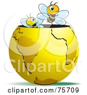 Royalty Free RF Clipart Illustration Of Two Happy Bees Emerging From A Gold Globe