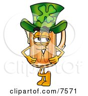 Clipart Picture Of A Beer Mug Mascot Cartoon Character Wearing A Saint Patricks Day Hat With A Clover On It