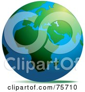 Royalty Free RF Clipart Illustration Of A Blue Earth With Green Continents Of Africa And Europe
