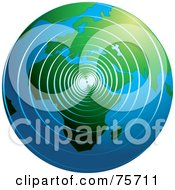 Royalty Free RF Clipart Illustration Of Spiral Waves Spreading Around The Globe