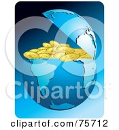 Royalty Free RF Clipart Illustration Of A Blue Earth Cracked Open To Conceal Gold Coins