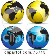 Royalty Free RF Clipart Illustration Of A Digital Collage Of Gold And Black And Blue And Black Globes