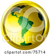 Royalty Free RF Clipart Illustration Of A Glowing Green And Gold Globe