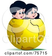 Royalty Free RF Clipart Illustration Of A Boy And Girl Peeking Out Of A Gold Globe