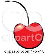 Royalty Free RF Clipart Illustration Of A Single Red Shiny Bing Cherry With A Black Stem