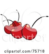 Royalty Free RF Clipart Illustration Of Four Red Shiny Bing Cherries With Black Stems