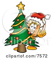 Clipart Picture Of A Beer Mug Mascot Cartoon Character Waving And Standing By A Decorated Christmas Tree