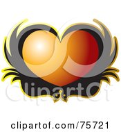 Royalty Free RF Clipart Illustration Of Two Black Birds Forming An Orange Heart
