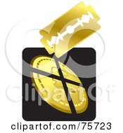 Royalty Free RF Clipart Illustration Of A Blade Cutting A Coin by Lal Perera