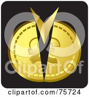 Royalty Free RF Clipart Illustration Of An Arrow Splitting A Gold Coin by Lal Perera