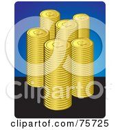 Royalty Free RF Clipart Illustration Of Stacks Of Golden Coins Over Blue And Black by Lal Perera