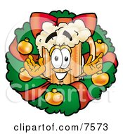 Clipart Picture Of A Beer Mug Mascot Cartoon Character In The Center Of A Christmas Wreath