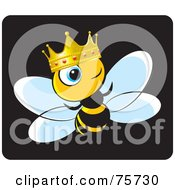Royalty Free RF Clipart Illustration Of A King Bee Wearing A Gold And Ruby Crown