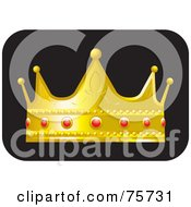 Royalty Free RF Clipart Illustration Of A Golden Crown With Ruby Decorations by Lal Perera