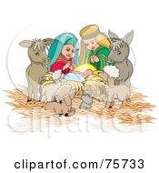 Nativity Scene Of Mary Joseph And Animals Watching Over Baby Jesus