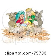 Royalty Free RF Clipart Illustration Of A Nativity Scene Of Mary Joseph And Animals Watching Over Baby Jesus