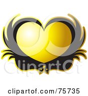 Royalty Free RF Clipart Illustration Of Two Black Birds Forming A Yellow Heart