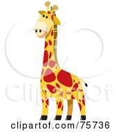 Royalty Free RF Clipart Illustration Of A Tall Yellow Giraffe With Red Spots by Lal Perera