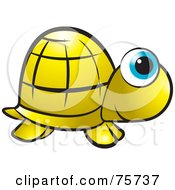 Royalty Free RF Clipart Illustration Of A Golden Tortoise With Big Blue Eyes by Lal Perera