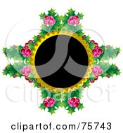 Royalty Free RF Clipart Illustration Of A Black Circle With Gold Trim And Holly