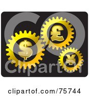 Royalty Free RF Clipart Illustration Of Golden Dollar Pound And Yen Currency Cogwheels Working Together by Lal Perera