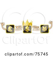 Royalty Free RF Clipart Illustration Of A Crowned Dollar Box Holding Hands With Pound And Yen Boxes by Lal Perera
