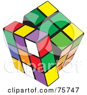 Royalty Free RF Clipart Illustration Of A Twisting Layer Of A Colorful Puzzle Cube