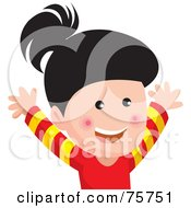 Royalty Free RF Clipart Illustration Of A Hyper Asian Girl Jumping