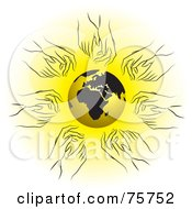 Royalty Free RF Clipart Illustration Of Hands Reaching For A Gold And Black Globe