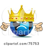 Royalty Free RF Clipart Illustration Of A Blue Globe Face Wearing A Large Gold And Ruby Crown