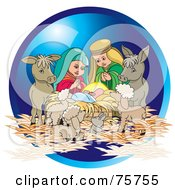 Royalty Free RF Clipart Illustration Of A Nativity Scene Of Animals Mary And Joseph Watching Baby Jesus