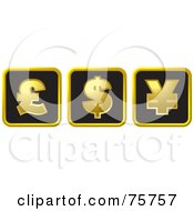 Royalty Free RF Clipart Illustration Of A Digital Collage Of Black And Gold Pound Dollar And Yellow Currency Symbol Boxes by Lal Perera
