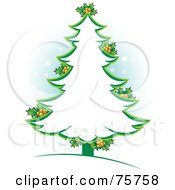 Royalty Free RF Clipart Illustration Of A Green Christmas Tree Outline With Holly by Lal Perera #COLLC75758-0106