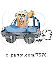 Clipart Picture Of A Beer Mug Mascot Cartoon Character Driving A Blue Car And Waving