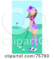 Royalty Free RF Clipart Illustration Of A Pretty Brunette Woman Golfing On A Course