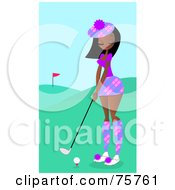 Royalty Free RF Clipart Illustration Of A Pretty Black Woman Golfing On A Course