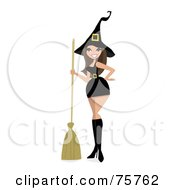 Royalty Free RF Clipart Illustration Of A Sexy Brunette Witch Woman In A Short Dress by peachidesigns