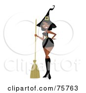 Royalty Free RF Clipart Illustration Of A Sexy Black Witch Woman In A Short Dress by peachidesigns