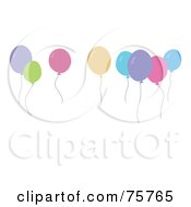 Royalty Free RF Clipart Illustration Of Floating Colorful Pastel Party Balloons by peachidesigns