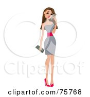 Royalty Free RF Clipart Illustration Of A Sexy Stylish Brunette Woman In A Silver Dress And Red Heels Talking On A Cell Phone