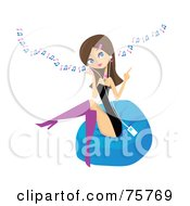 Royalty Free RF Clipart Illustration Of A Stylish Young Brunette Woman Sitting On A Bean Bag And Listening To Music Through An Mp3 Player