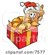Clipart Picture Of A Beer Mug Mascot Cartoon Character Standing By A Christmas Present