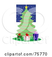 Royalty Free RF Clipart Illustration Of Three Gift Boxes Around A Christmas Tree Adorned In Garland By A Window