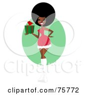 Royalty Free RF Clipart Illustration Of A Sexy Black Woman In A Santa Suit Holding A Gift by peachidesigns #COLLC75772-0137