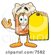 Clipart Picture Of A Beer Mug Mascot Cartoon Character Holding A Yellow Sales Price Tag