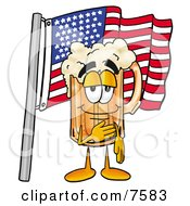Clipart Picture Of A Beer Mug Mascot Cartoon Character Pledging Allegiance To An American Flag