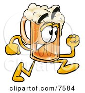 Clipart Picture Of A Beer Mug Mascot Cartoon Character Running
