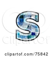 Royalty Free RF Clipart Illustration Of A Blue Tile Symbol Lowercase Letter S by chrisroll